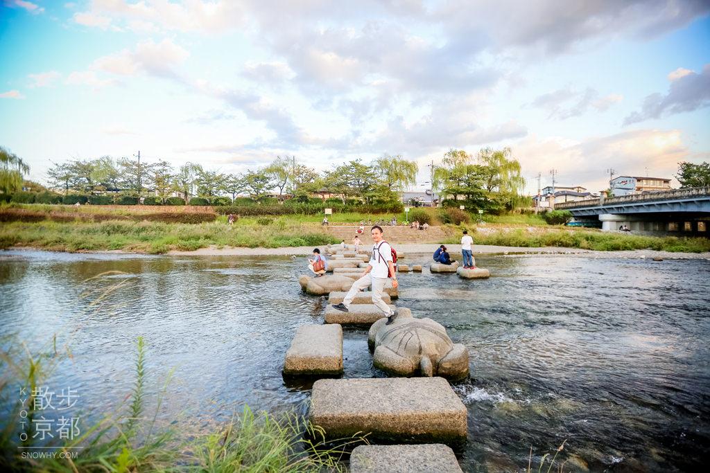 京都 出町柳。散步鴨川三角洲賞美景、烏龜跳跳石,免費!