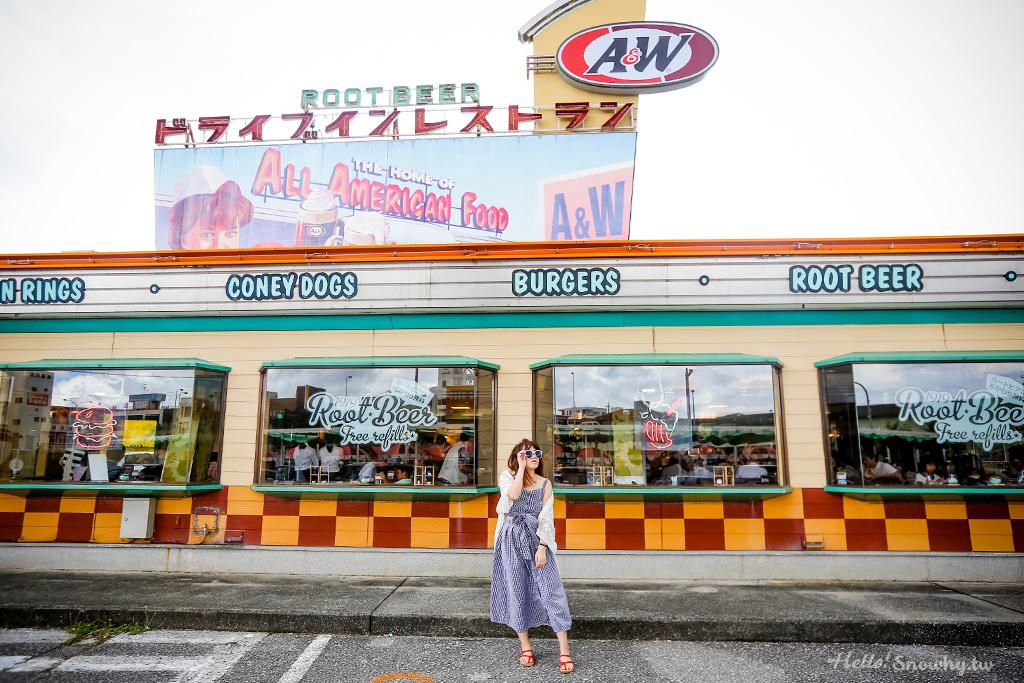 沖繩限定美食 A&W來自美國的懷舊漢堡速食餐廳.專屬兒童溜滑梯 | 24小時牧港店