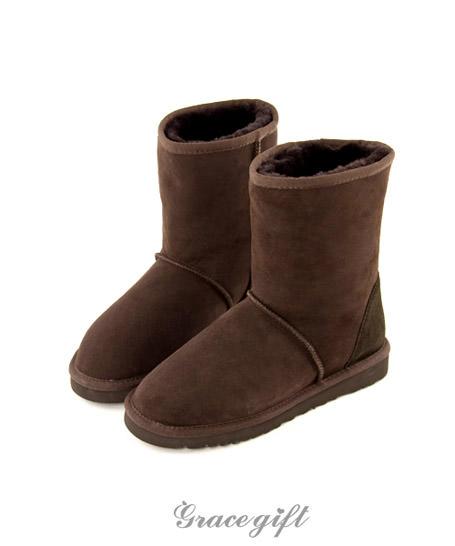 Grace gift經典保暖~8吋高質感羊皮x厚羊毛雪靴