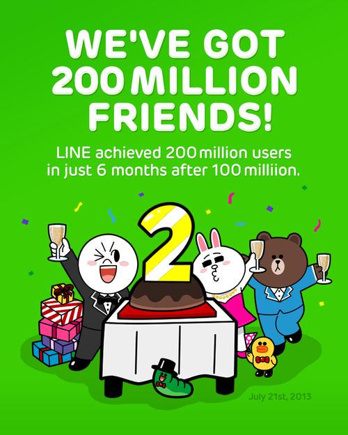 分享 | LINE全球用戶數突破2億!免費貼圖大放送